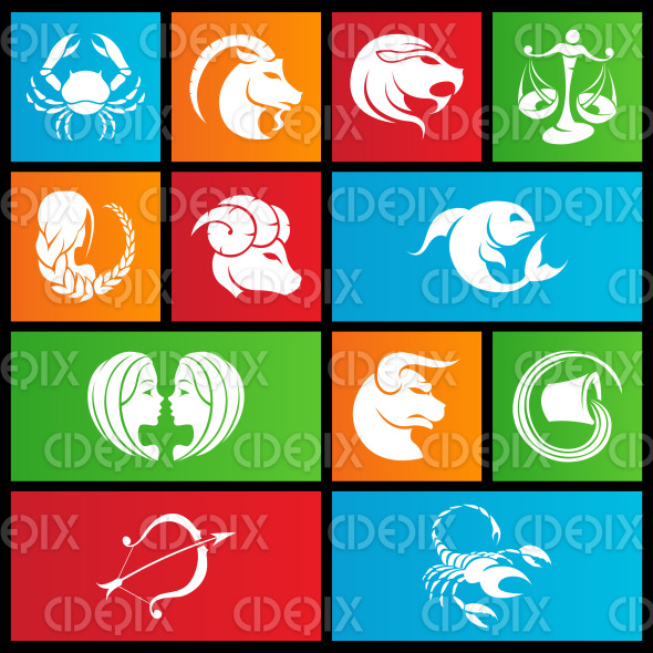 Metro style colorful zodiac star signs | Cidepix