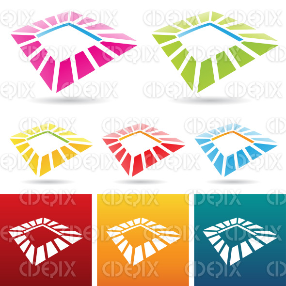 colorful abstract square frames icons stock illustration