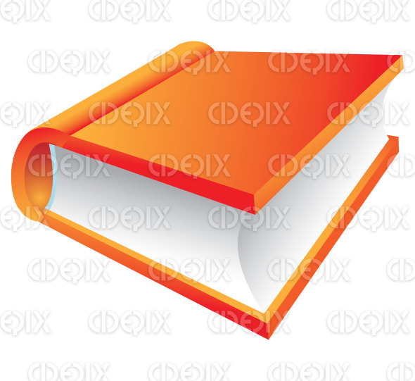 3d orange hard cover book cartoon stock illustration