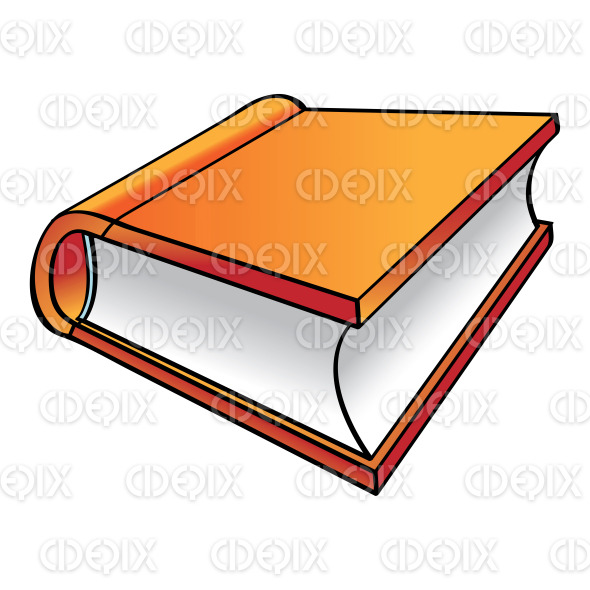 line art orange hard cover cartoon book stock illustration