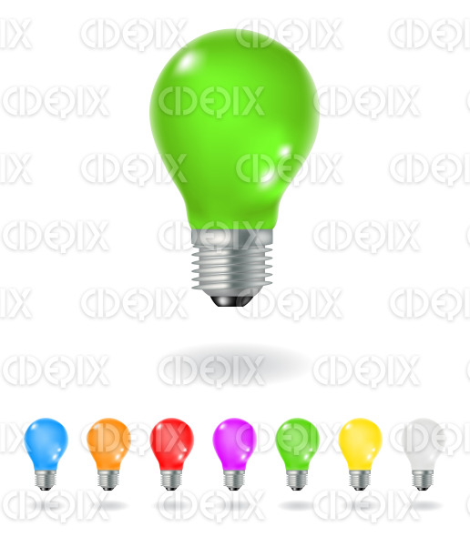 colorful shiny 3d light bulbs stock illustration