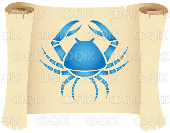 cancer star sign on a scroll paper stock illustration