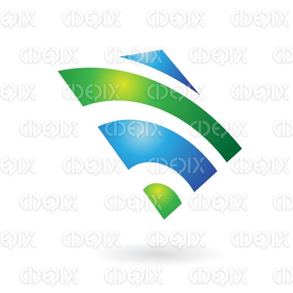 green and blue shiny square radio wave logo icon stock illustration