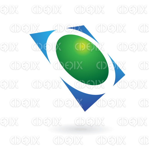 green and blue shiny circle square logo icon stock illustration