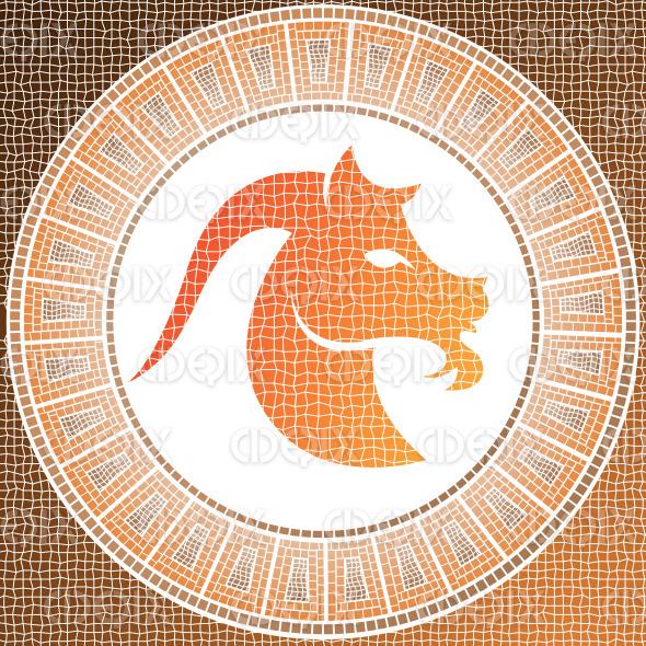 orange brown capricorn mosaic zodiac sign stock illustration