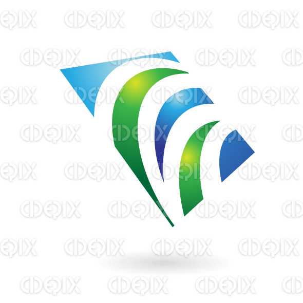 green grass in blue square logo icon stock illustration