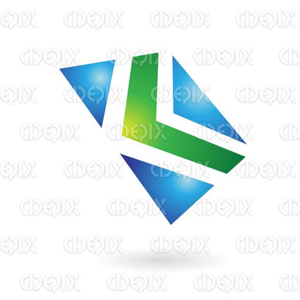 green arrow in blue square logo icon stock illustration