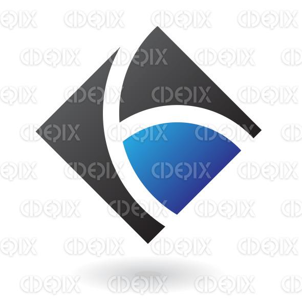 blue and black diamond square logo icon stock illustration
