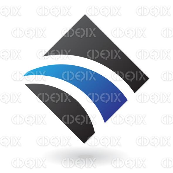 blue arc stripe in black diamond square logo icon stock illustration