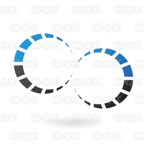 blue and black cog like dotted circle lines logo icon stock illustration