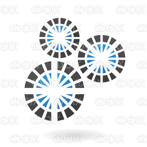 3 blue and black circles in pieces logo icon stock illustration