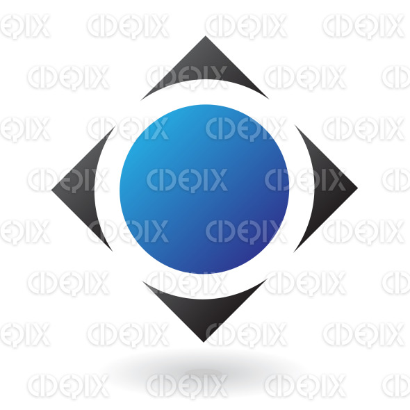 blue circle in black diamond square logo icon stock illustration