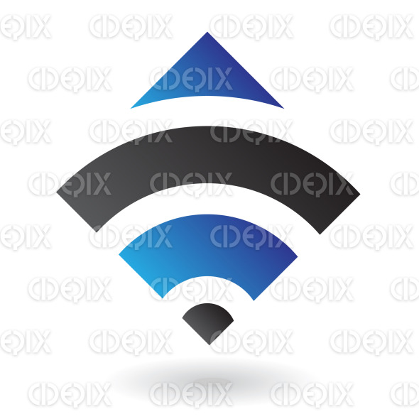 blue and black arc lines square logo icon stock illustration