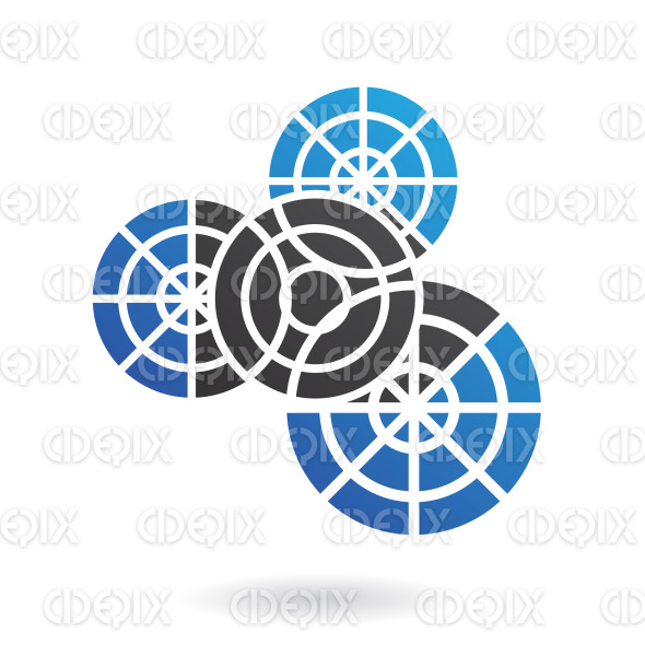 4 blue and black connected cogs logo icon stock illustration