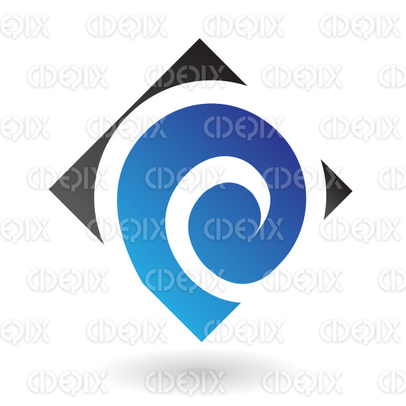 blue spiral, swirl, snail shell in black square logo icon stock illustration