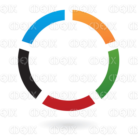 blue, green, black, red and orange circle logo icon stock illustration