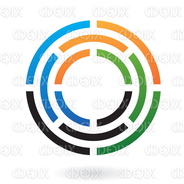 blue, green, black and orange circle maze (labyrinth) logo icon stock illustration