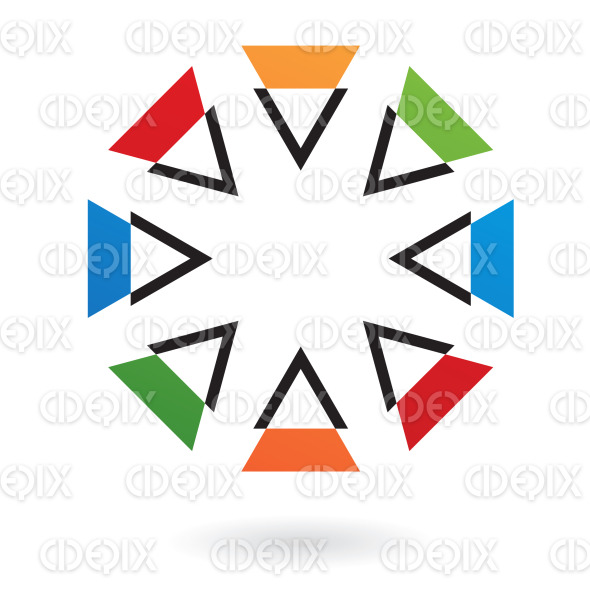 abstract colorful nested triangles circle logo icon stock illustration