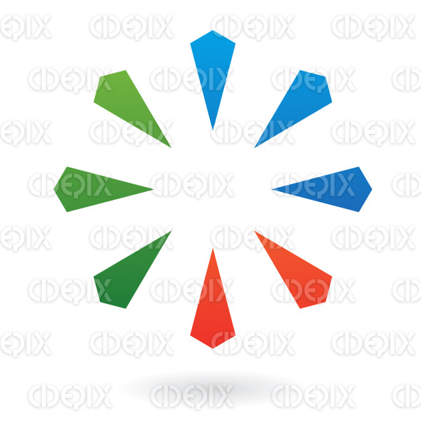 abstract blue, green and orange geometric shapes logo icon stock illustration