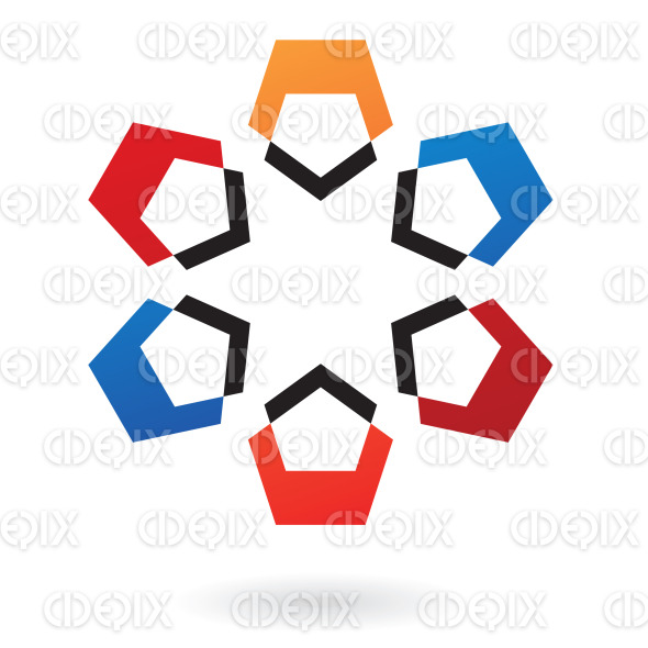 abstract blue, red, black and orange nested pentagons logo icon stock illustration