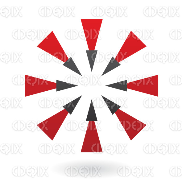 abstract black and red arrow triangles circle logo icon stock illustration
