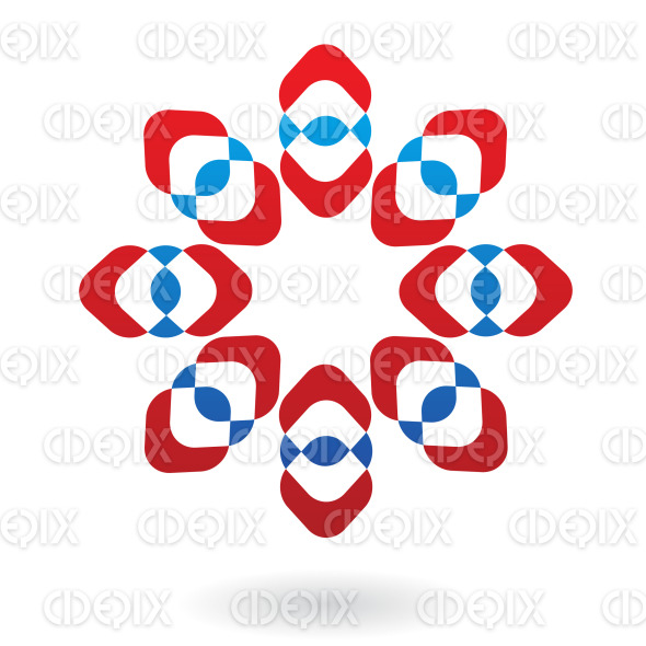 abstract blue and red flower like logo icon stock illustration
