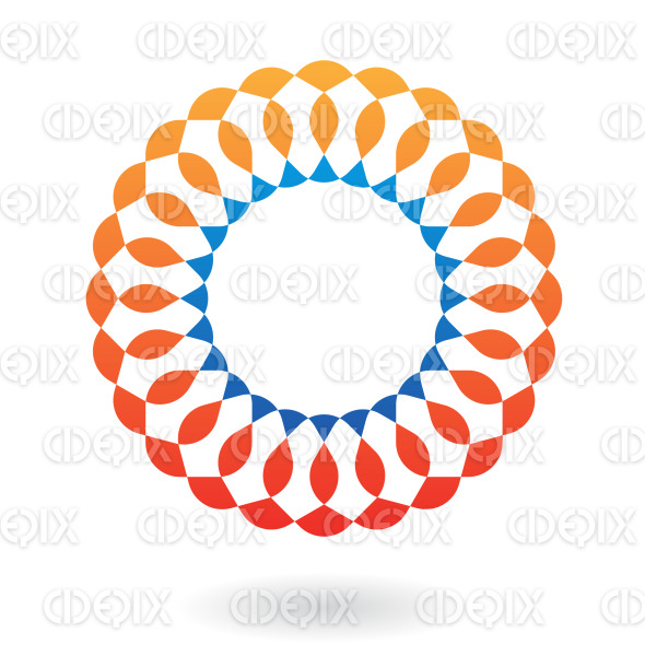 abstract blue and orange ornamental circle logo icon stock illustration