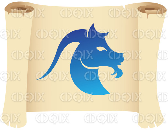 capricorn star sign on a scroll paper stock illustration