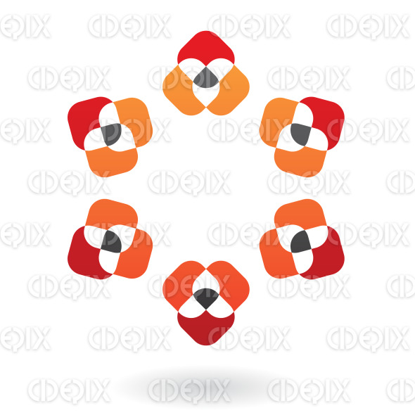 abstract black, red and orange nested shapes logo icon stock illustration
