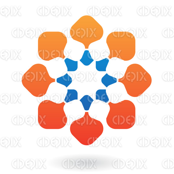 abstract blue and orange oriental flower logo icon stock illustration