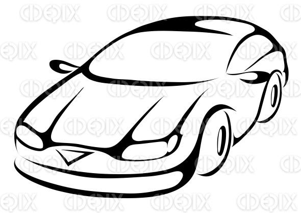 line art style cartoon car stock illustration