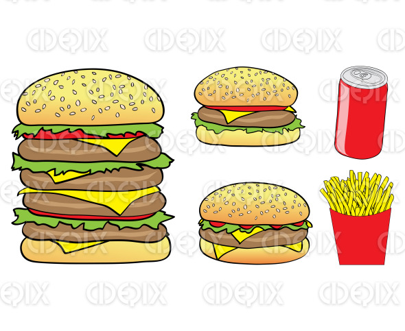 cartoon burgers, fries and soft drink stock illustration
