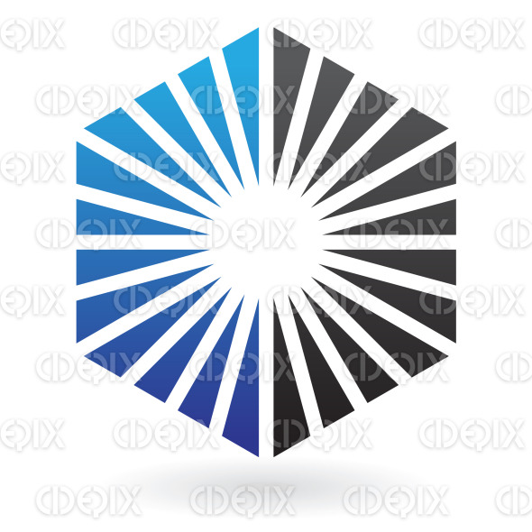 abstract black and blue triangles hexagon logo icon stock illustration
