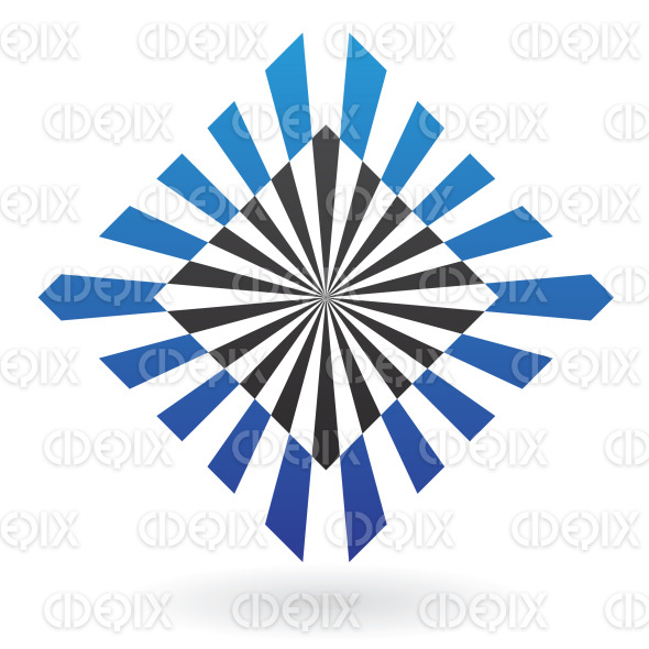abstract black and blue illusion square logo icon stock illustration