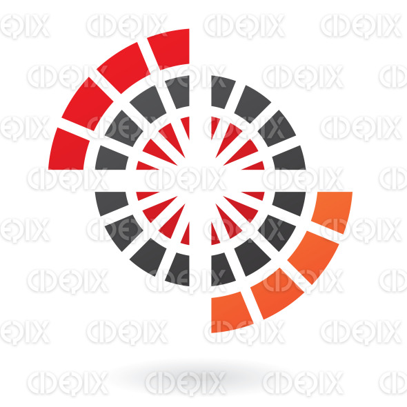 abstract red, orange and black circle web logo icon stock illustration