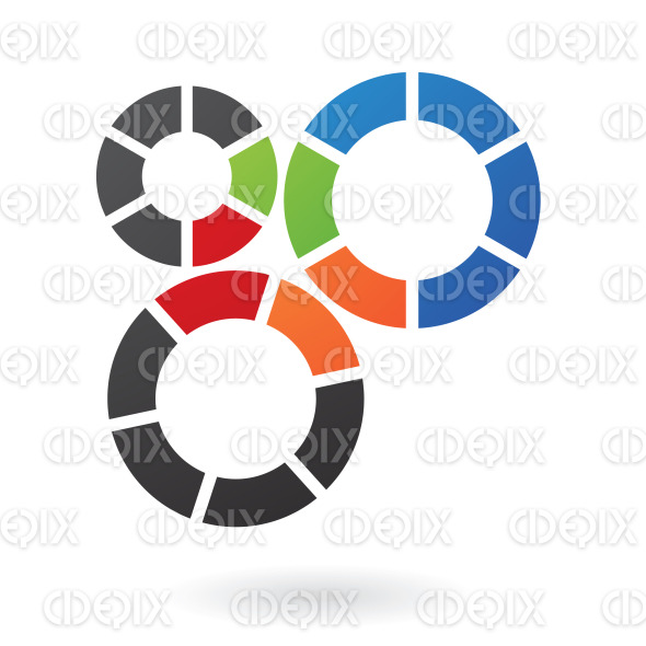 3 cogs in green, orange, red, blue and black colors logo icon stock illustration