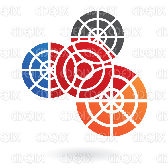 4 blue, red, orange and black connected cogs logo icon stock illustration