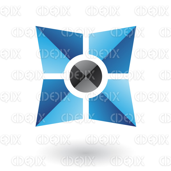 abstract black core in blue folded square logo icon stock illustration