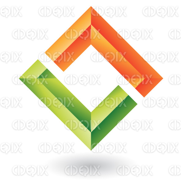 abstract orange and green embossed square logo icon stock illustration