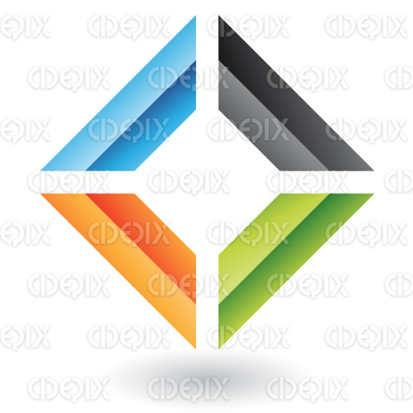 abstract blue, green, black and orange embossed square logo icon stock illustration