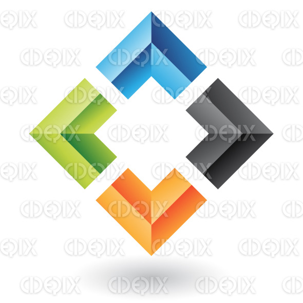 abstract 3d black, blue, green and orange embossed square logo icon stock illustration