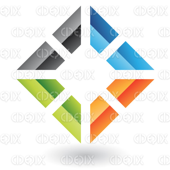 abstract 3d colorful embossed square logo icon stock illustration