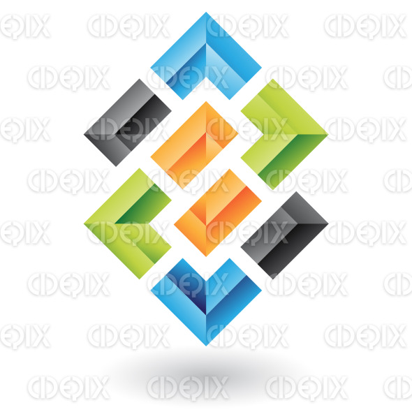 abstract colorful, connected 3d embossed chain squares logo icon stock illustration