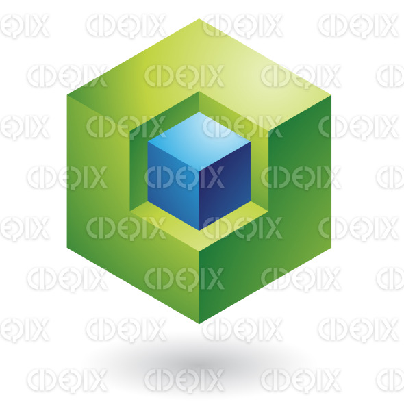 abstract blue and green 3d nested cubes logo icon stock illustration