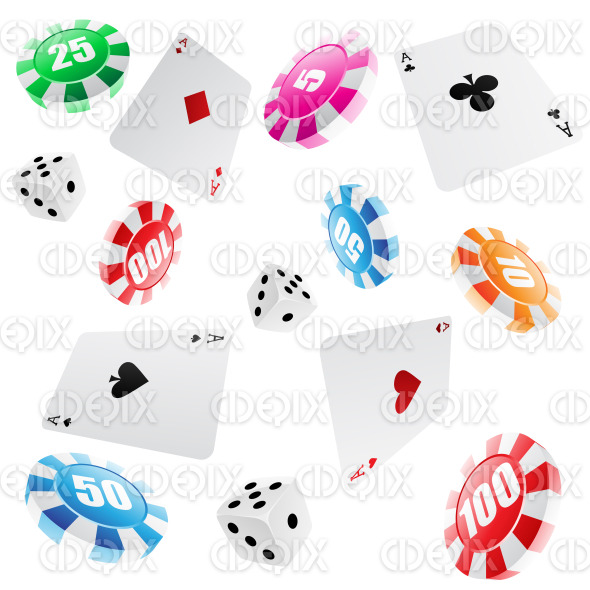 seamless casino pattern of playing cards, roulette chips and dices stock illustration