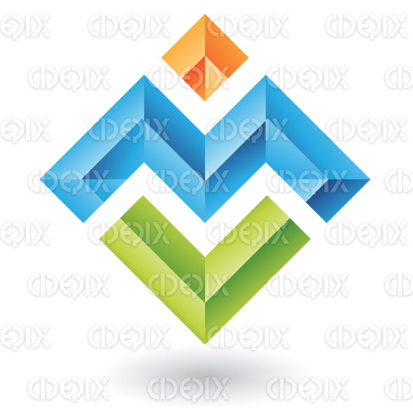 abstract blue letter m and colorful embossed square logo icon stock illustration