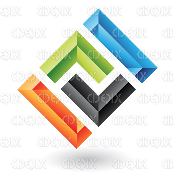abstract colorful embossed rectangle logo icon stock illustration