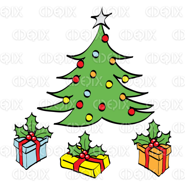 colorful christmas tree and gift boxes cartoon stock illustration