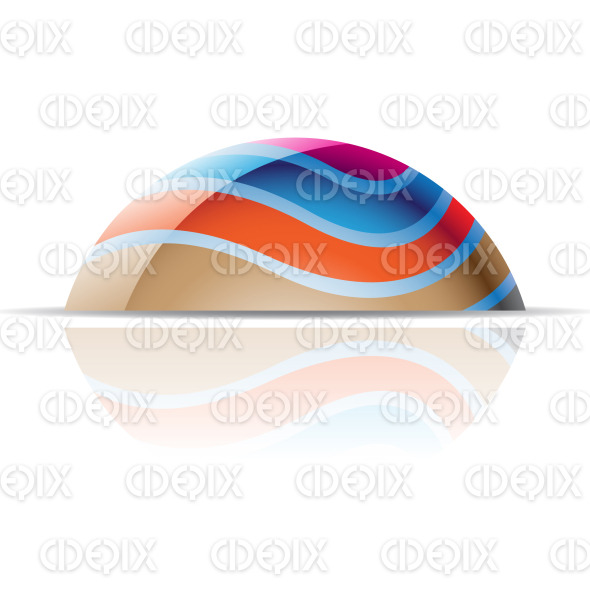 abstract colorful wavy lines 3d dome logo icon stock illustration