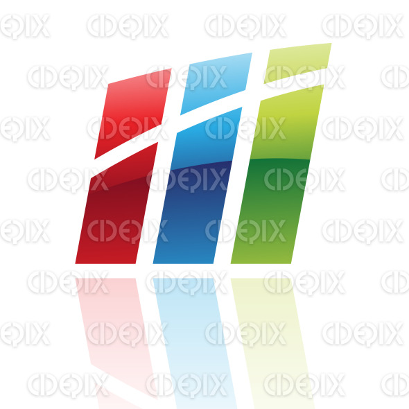 abstract glossy retro bars logo icon stock illustration